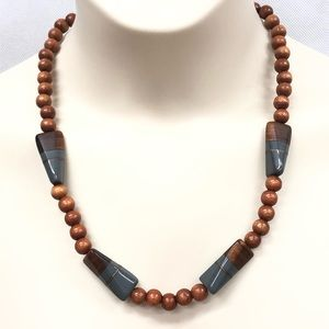 Wooden bead necklace with gray accents